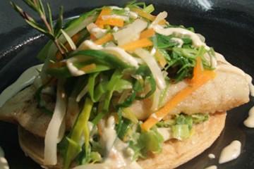filet de sandre sur tarte fine et julienne de légumes