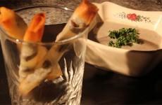 Cigares d'escargots à la crème de champignons.