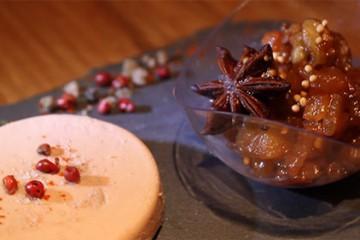 Chutney aux fruits secs et terrine de foie gras
