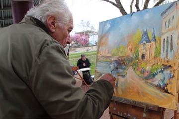 Atelier d'artistes en extérieur. Rencontre avec l'ADAL
