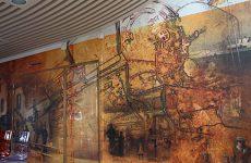 Une fresque à la mairie qui retrace l'histoire du village
