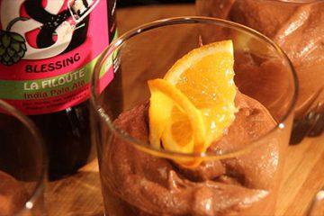 """Mousse au chocolat à la bière """"La filoute"""" de la brasserie Blessing"""