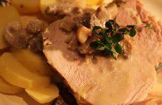 Rôti de porc à l'ail et au thym de la ferme Gladel de Rouhling.