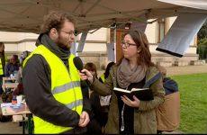 étudiant qui manifeste à Sarrebruck