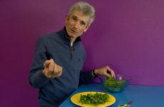 Dégustation d'une salade de plantes sauvages